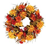Adding lasting color and texture to any setting, our wreath boasts nature's beauty in every detailboasting rich autumn hues, intricate foliage, realistic cattails Polyester, styrofoam, plastic; for indoor/protected outdoor use.