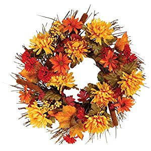 OakRidge Fall Mum Wreath, 18″ Diameter, Silk Floral Autumn Home Décor for Indoor/Outdoor Use