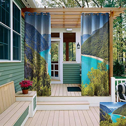 leinuoyi European, Outdoor Curtain Waterproof, The Piva Canyon with Reservoir Montenegro Balkans Europe Sunlights, Outdoor Privacy Porch Curtains W72 x L108 Inch Aqua Sky Blue Forest Green