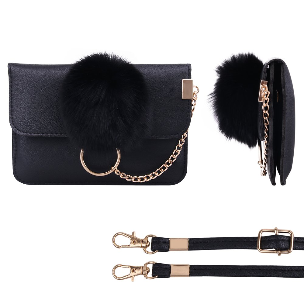 Crossbody Bag for Women, PU Leather Cell Phone Bag with Plush Ball Accessories Shoulder Bag Wallet for Girls
