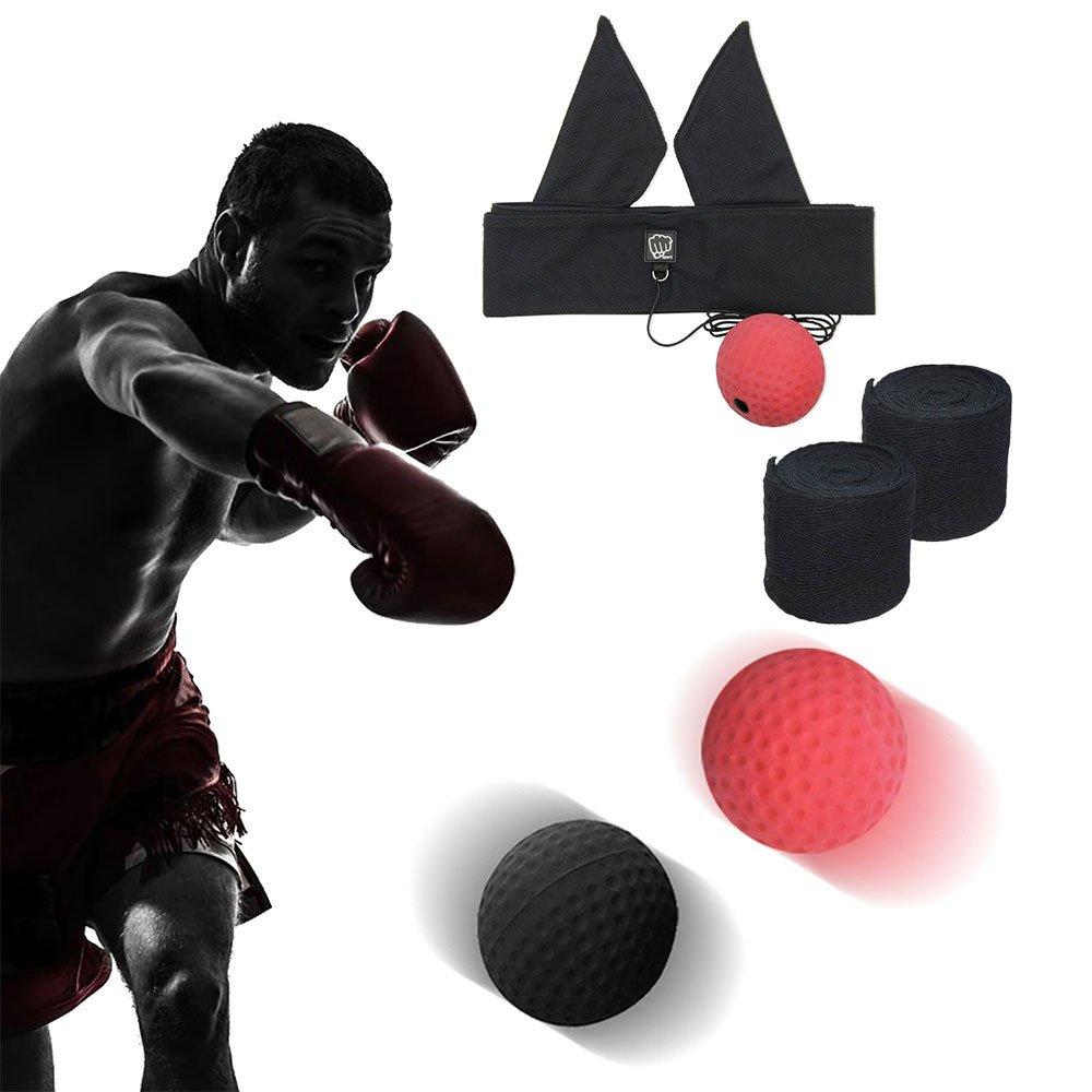 Balle de Combat, Boxe Boule de Reflex + Premium Hand Wraps , Balle de Boxe Avec Bandeau de Tête, La Formation de Vitesse Réflexe, Punch Exercice Réactions Speed Trainer , d'Entraînement Fitness Mma Sport d'Équipement Entraînement (Rouge Et Noir) Ding Sheng