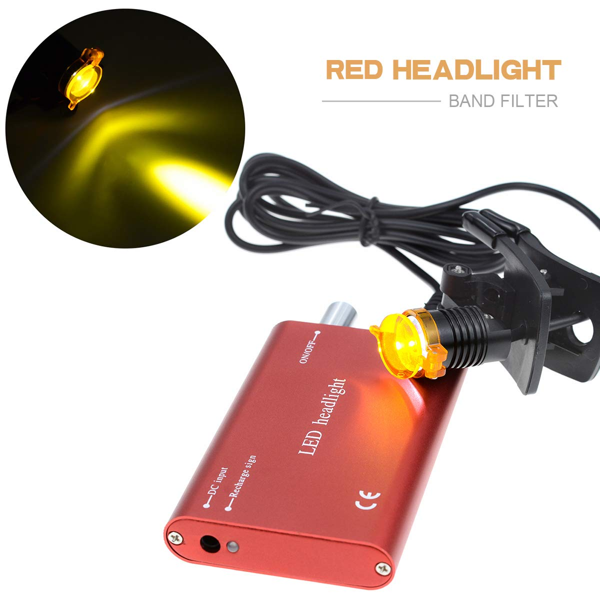 Headlamp for Dental Surgical Medical Binocular Loupe with Bag Aries Outlets 3W Portable LED Dental Headlight With Plastic Clip Filter Head Light Red)