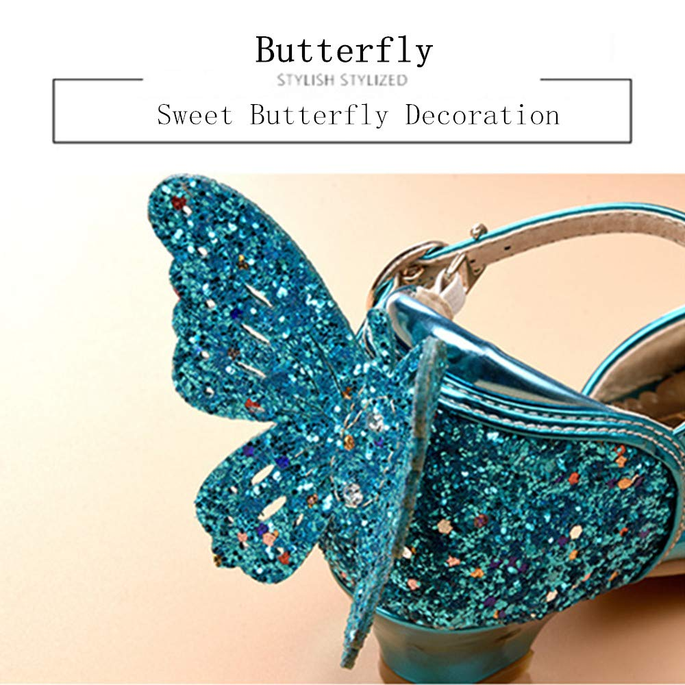 DAYISS Party Princess Kids Girls Wedding Rhinestone Heels Shoes Sequin Sandals for Little Girls Sparkle Mary Jane Shoes