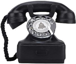Haofy Antique Phone Prop Retro Rotary Corded Old Fashion Landline Telephone Home Desk Decor Vintage Landline Telephone Home Ornament Photograph Props Prop Rotary Corded Old Fashion for Cafe