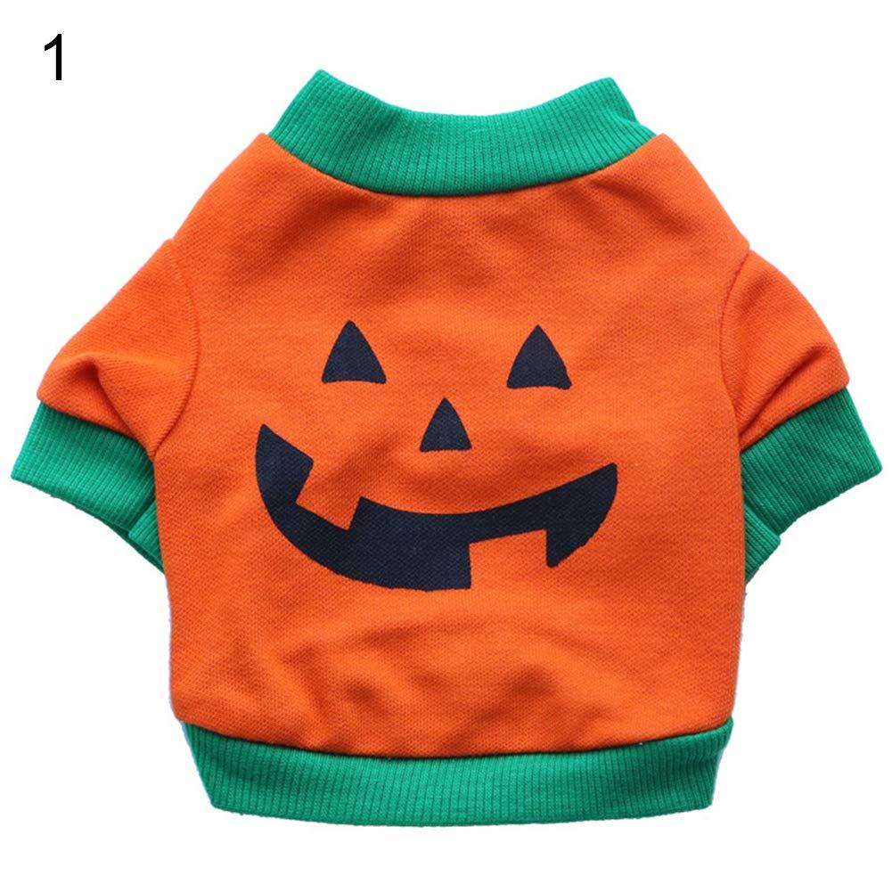 Halloween Pet Dog Puppy Laugh Face Costume Bulldog Cotton Vest T-shirt Clothes - 1# S
