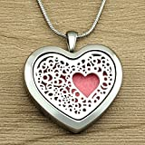 Essential Oil Necklace Diffuser Heart Pendant Jewelry for Girls, Premium Stainless Steel Aromatherapy Diffuser Necklace(22'', 12 Felt Pads) by Lademayh