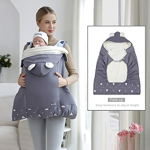 Abnehmbarer Hut Wasserdicht Winddicht Grau SONARIN Universal All Seasons Regenschutz f/ür Babytrage Wintermantel warm Fu/ßsack