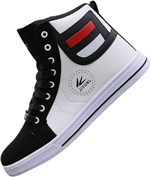 Mens Running Athletic Round Toe High Top Sneakers Casual Lace Up Skateboard Shoe