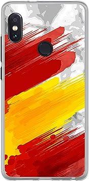 BJJ SHOP Funda Transparente para [ Xiaomi Redmi Note 5 Pro ], Carcasa de Silicona Flexible TPU, diseño: Bandera españa, Pintura de brocha Sobre Fondo Abstracto: Amazon.es: Electrónica