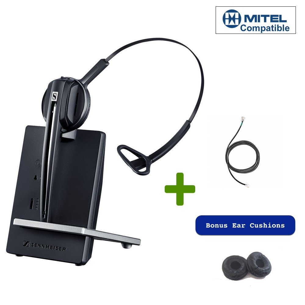 Sennheiser D10-506410 Cordless Headset Bundle for Mitel Desk Phones | Includes CEHS-DHSG Adapter for Remote Answering | 6865, 6867, 6869, 6871, 6873