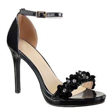 Strass Sexy Aiguille Cm Diamant Lanière Stiletto Femme Fleurs Chaussure Escarpin Chic Mode Talon 5 Angkorly Haut 10 Sandale dBWCroex