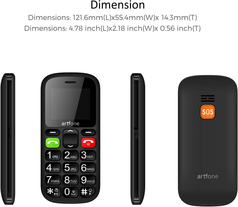 Artfone CS181 gsm Teléfonos Móviles para Mayores con SOS botón | Teléfono Celular de botón Grande | Pantalla de 1,77