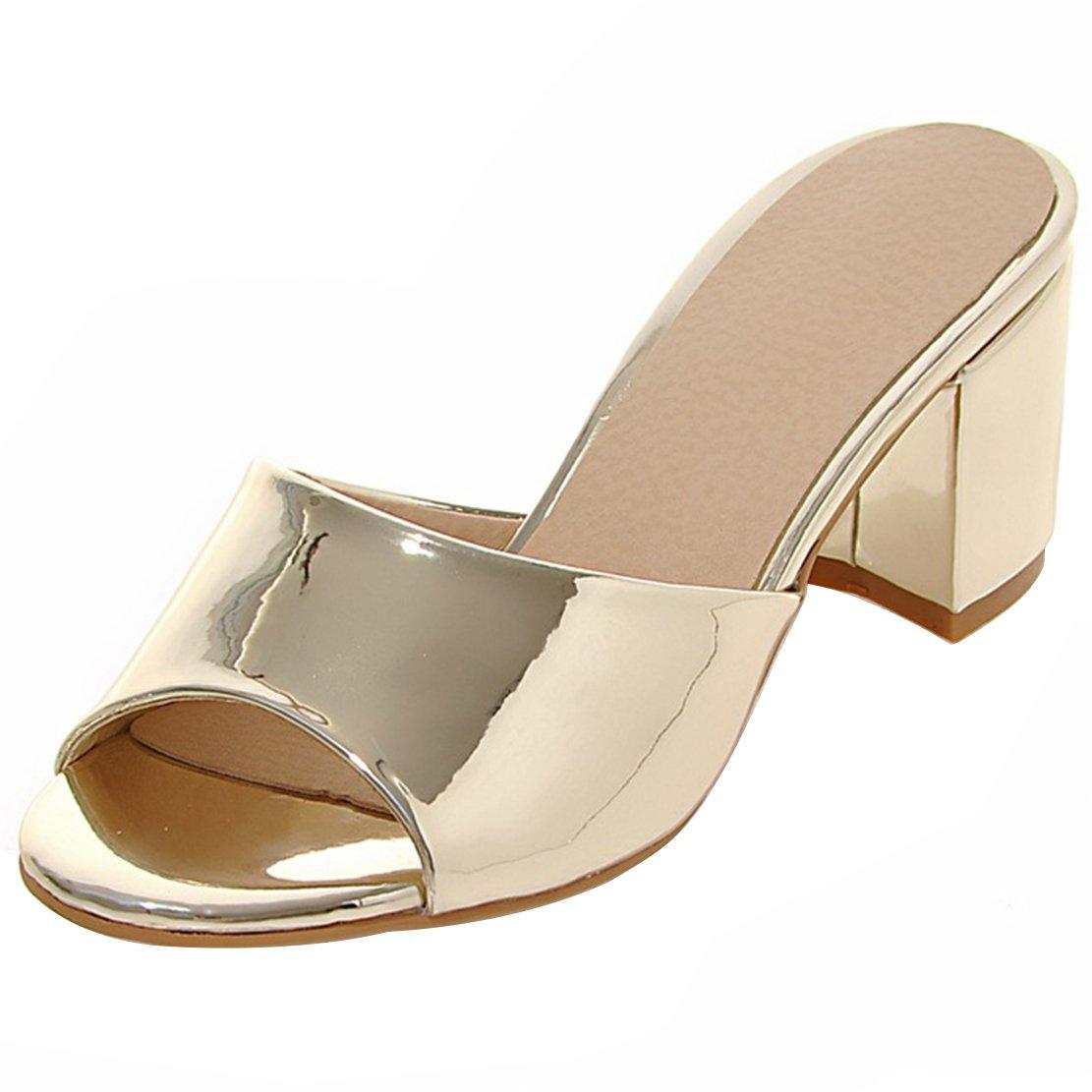 AIYOUMEI Damen Lack Pantoletten High Heels Mules Blockabsatz Sandaletten Slipper Damen Slip on Sandalen  38.5 EU|Gold