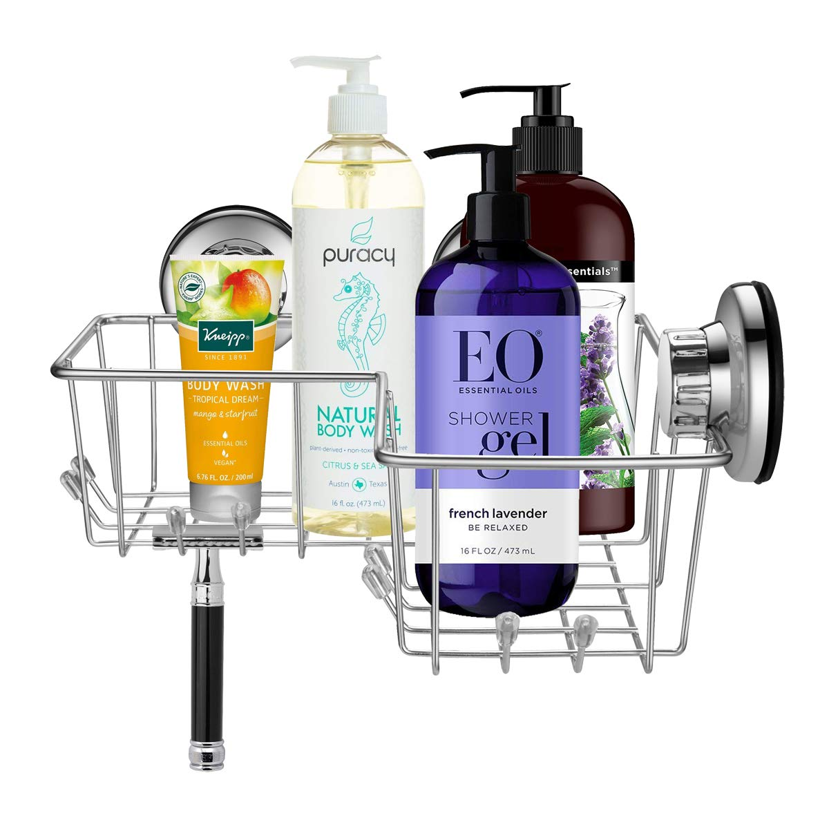 ARCCI Shower Caddy with Suction Cup Corner Basket Shelf with Hooks Shampoo Holder Stainless Steel Bathroom Accesoories for Bathroom & Kitchen - Rustproof (Corner Shower Caddy)