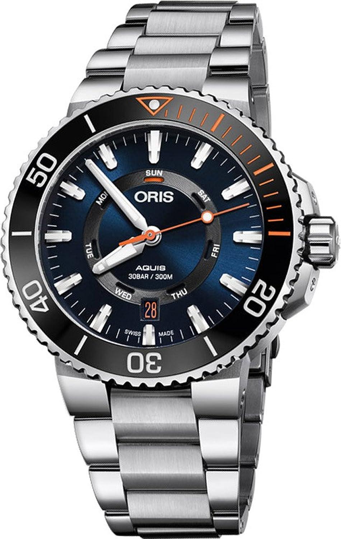 Oris Aquis Date Staghorn Restoration Limited EditionメンズステンレススチールAutomatic Diver Watch – 43 mmブルー面アナログスイスLuxury防水Dive Watchメンズの01 735 7734 4185-set MB B077Y2FJ5J