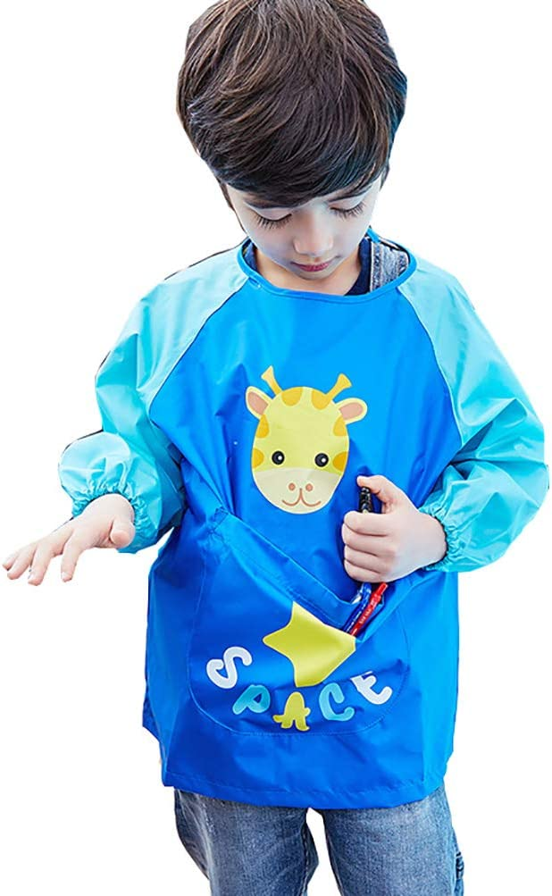 Babero Impermeable para Beb/é Ni/ños con Mangas Largas Babi Infantil de Pintar Jugar Comer con Estampado Lindo Delantal de Pintura Escolar