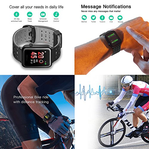 Weloop Hey 3S Smart watch, Multifunction Outdoor IP68 Waterproof Sport Bluetooth GPS Fitness Activity Tracker Smartwatch with Heart Rate Sleep Monitor message remind for iPhone android (Black) by Weloop (Image #6)