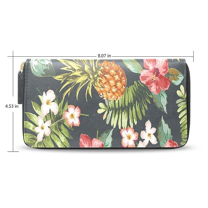 dd30ad941a5b Women Wallet Purse Pineapple Vintage Tropical Flowers Leaf Clutch ...