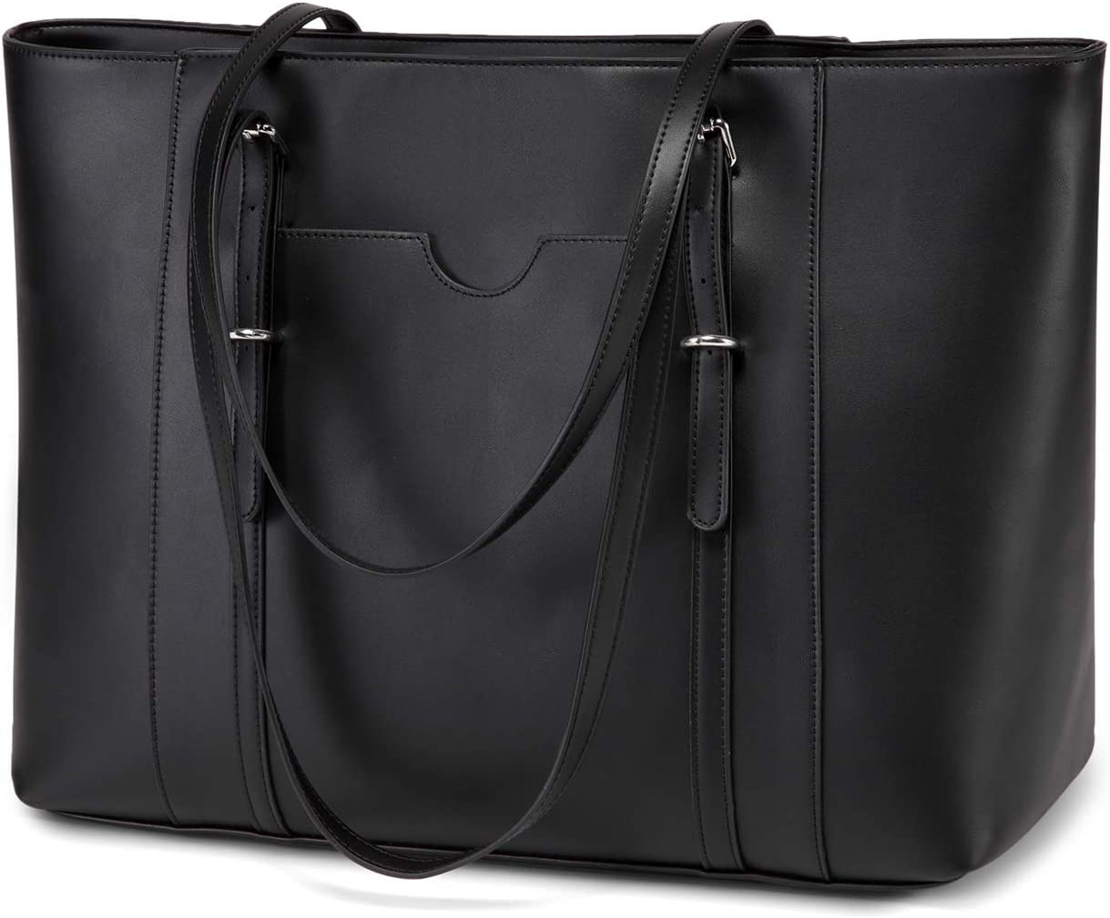 Laptop Tote Bag for Women,Vaschy PU Leather Water Resistant Travel,Work,Teacher Tote Bag Fits 15.6 inch Laptop Black
