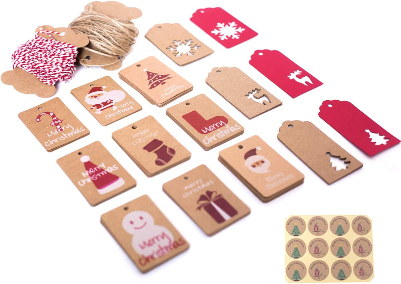 WylbJc 150 Etiquetas de Regalo de Navidad de Papel Kraft para Colgar Etiquetas con Cuerda de Cáñamo de 20m, Cordel de Algodón Rojo y Blanco de 20m y 12 Pegatinas para Decoración de Regalo, 15 Estilos