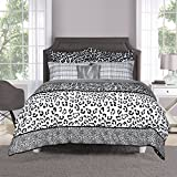 8 Piece Girls Black White Grey Leopard Print Comforter Queen Set, Wild Animal Cat Bedding Jungle Themed Exotic Spotted Pattern Zoo Safair African Tribal All Over Design, Polyester