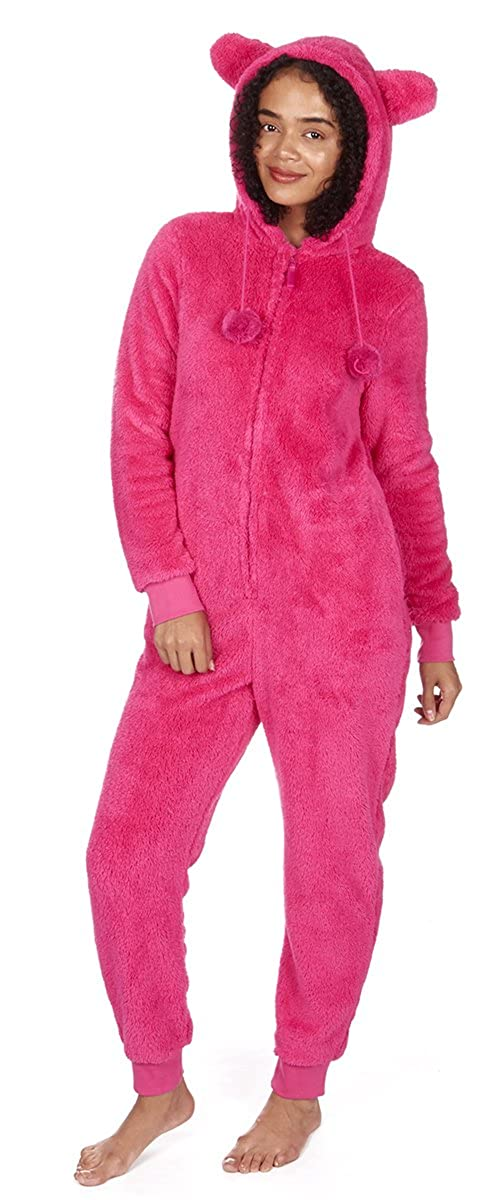 ONEZEE Women's Kigurumi All-in-One Warm Fluffy Fleece Hooded Snuggle Jumpsuit Sleepwear