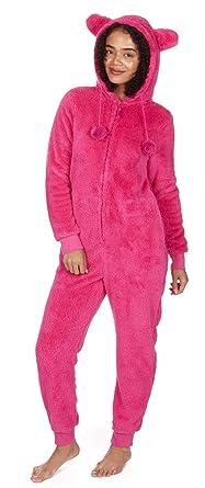cf5fd4f03ff9 Women s Kigurumi Onesie Warm Fluffy Fleece Hooded Snuggle Playsuit Sleepwear  NEW
