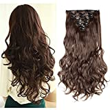 Clip in Hair Extensions Synthetic Full Head Charming Hairpieces Thick Long Straight 8pcs 18clips for Women Girls Lady (24 inches-wavy, medium brown)