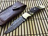 FN-52 Custom Handmade Damascus Steel Folding Knife- Buffalo Horn Handle For Sale
