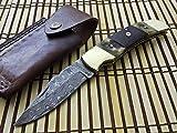 FN-52 Custom Handmade Damascus Steel Folding Knife- Buffalo Horn Handle For Sale