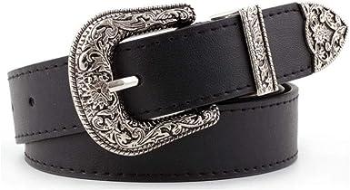 Women PU Leather Black Waist Belt Vintage Style Silver Buckle Party Wear Jewelry