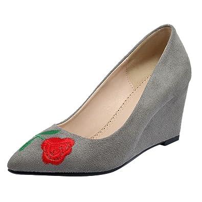 e28b4a95a4282c YE Damen Spitze High Heels Keilabsatz Pumps mit Absatz und Blumen Elegant  Schuhe
