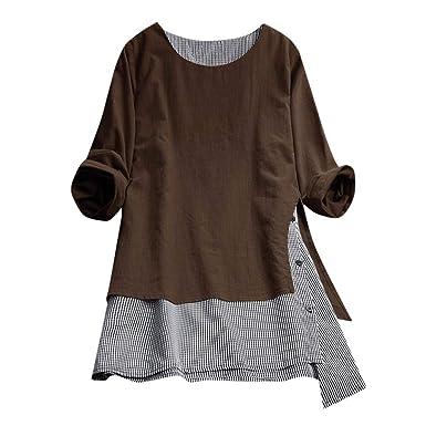1182643cf JJ🌷Fashion Womens Casual Button Plus Size Blouse Linen Plaid Tops