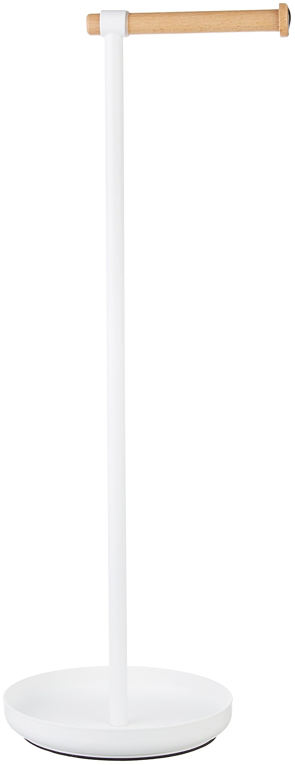 AmazonBasics Toilet Paper Stand with Reserve - White/Beech