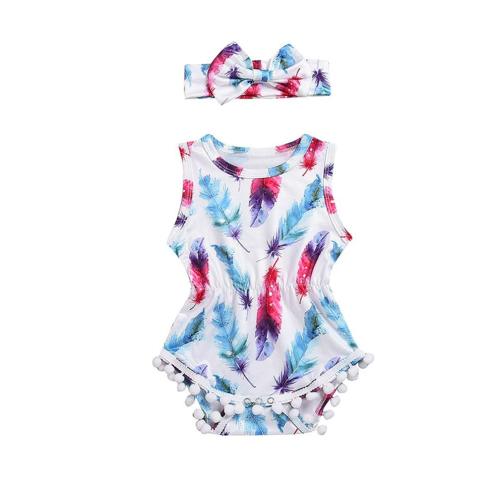 Muxika Toddler Baby Girls Summer Cute Sleeveless Feather Romper Jumpsuit+Headband Dinlong Din_95