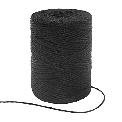 Tenn Well Black Jute Twine, 656 Feet 2mm Jute Rope Gift Twine Packing String for Craft Projects, Wrapping, Gardening Applications : Office Products