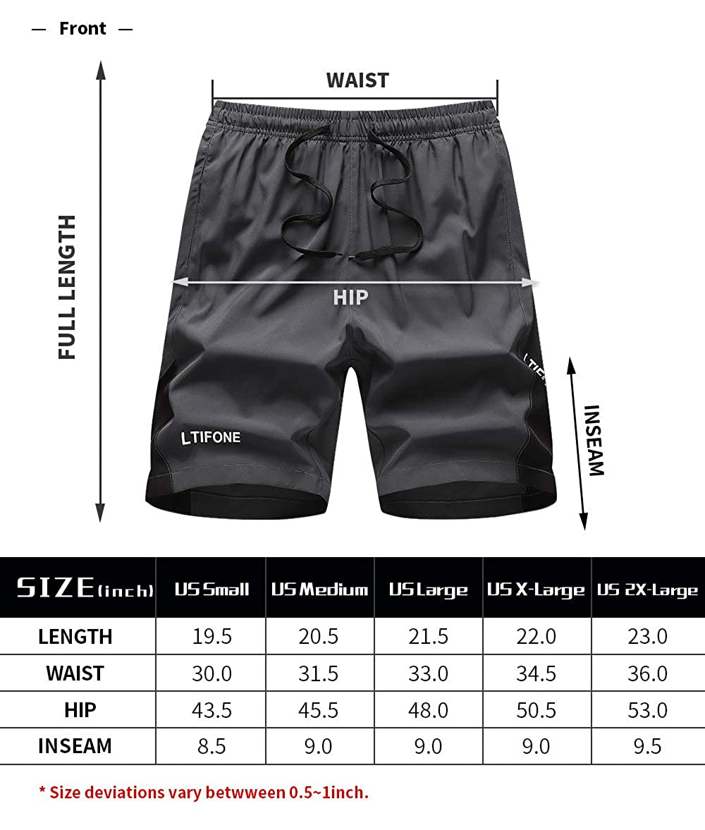 LTIFONE Mens Running Shorts Quick Dry Workout Gym Athletic Shorts with Zipper Pockets