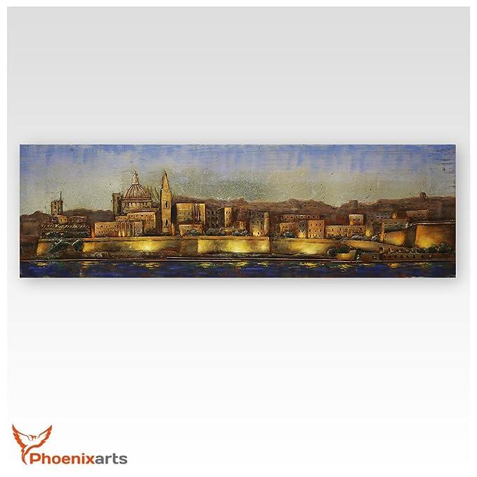Metallbild 3D Malta Stadt Valletta Metall Bild Kirche Altstadt Kathedrale 402
