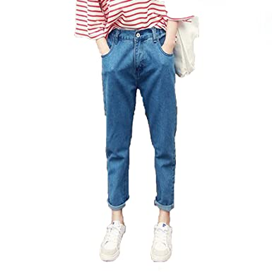 b818ae93a Small-shop Loose Jeans Women Thin Pants Womens Solid Color Women Slim Jeans  Pants Female at Amazon Women's Jeans store