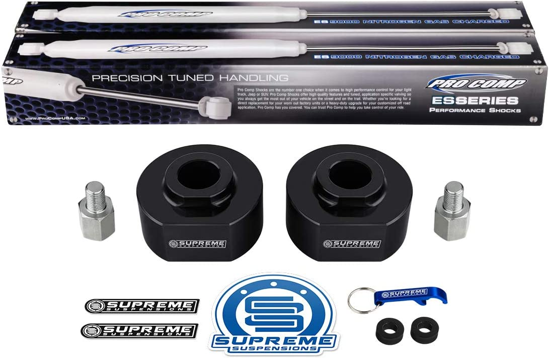 Supreme Suspensions Front Lift Spring Spacers 2 Front Leveling Kit for 1999-2020 Ford F250 F350 Super Duty 2WD 3//4 Stud Extenders ProComp ES9000 Performance Shocks