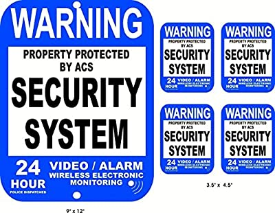 5-Pcs Heart-stopping Unique Warning Property Protected Security System 24 Hour Police Dispatched Video Alarm Wireless Electronic Monitoring Sign Cameras In Use Signs 1-Large Aluminum 4-Small Sticker