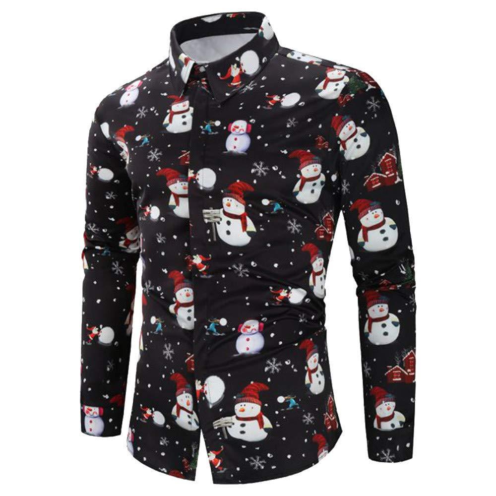 Camisa navideñ a para Hombre Amlaiworld Camisa Casual con Botones de Navidad para Hombre Blusa Delgada de Manga Larga Camisetas de Fiesta Original