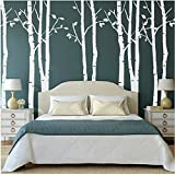 Set of 9 Birch Tree Wall Stickers White Tree Wall Stickers Nursery Big Tree Wall Stickers for Living Room by kiyeon