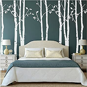Set of 9 Birch Tree Wall Stickers White Tree Wall Stickers Nursery Big Tree  Wall Stickers