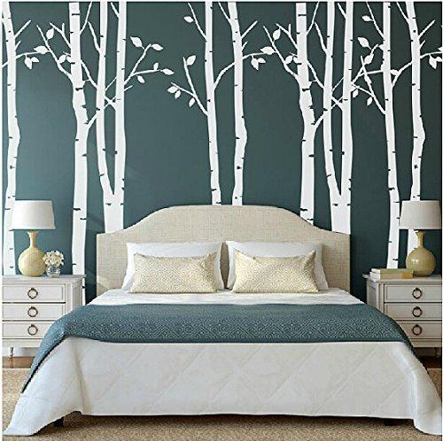 Set von 9 Wandaufkleber Birke weiß Wandaufkleber Baum Kinderzimmer Big Baum Wand Aufkleber für Wohnzimmer