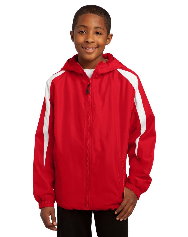 Sport-Tek YST81 Youth Fleece-Lined Colorblock Jacket - True Red/White - XS by Sport-Tek