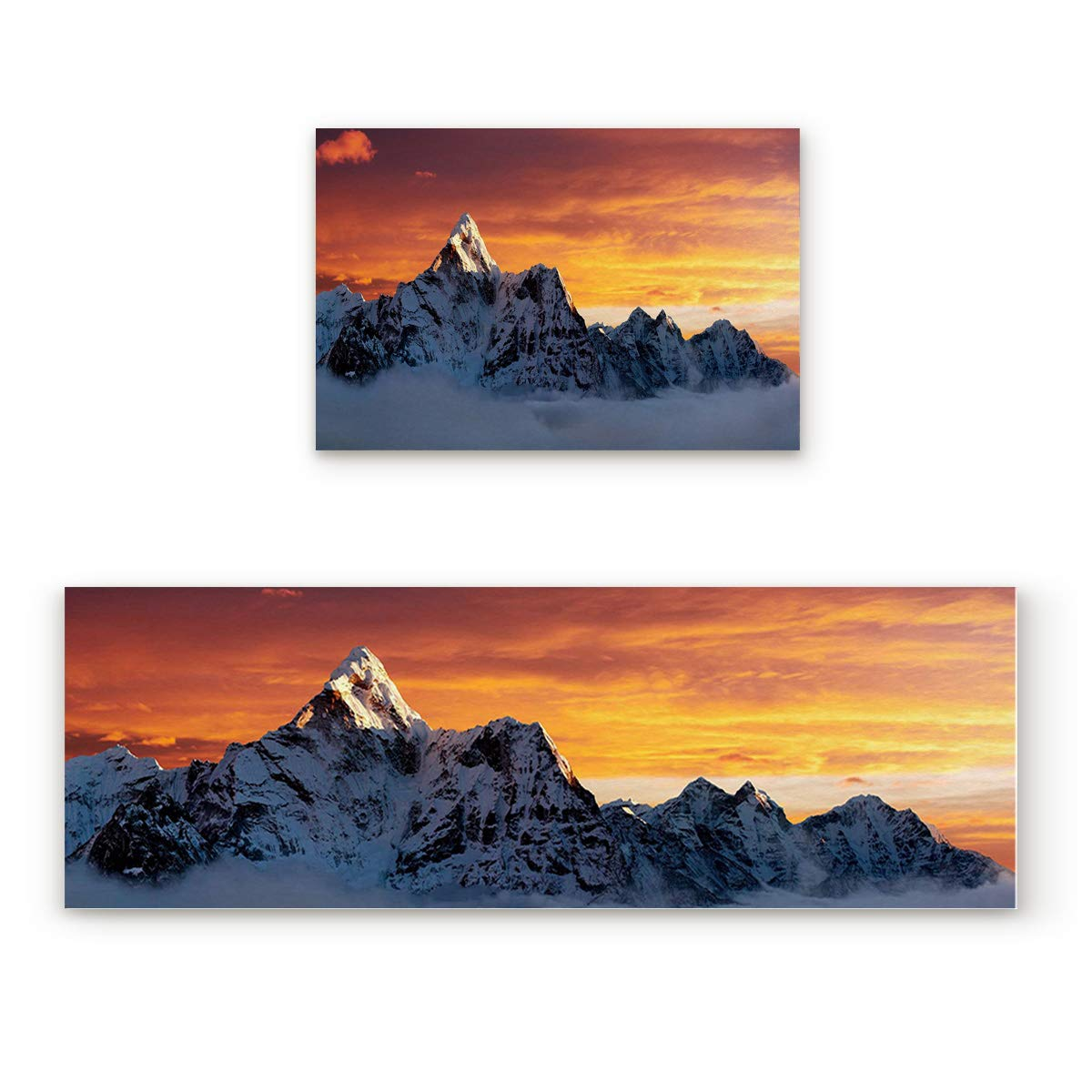 """Kitchen Rugs Sets 2 Piece Floor Mats the Summit of Mount Everest Under Sunset Doormat Non-Slip Rubber Backing Area Rugs Washable Carpet Inside Door Mat Pad Sets (23.6"""" x 35.4""""+23.6"""" x 70.9"""")"""