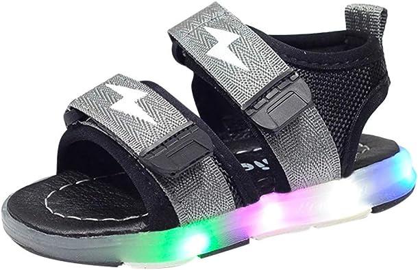 WINJIN Chaussure d'été Enfants Sneakers LED Sandales Chaussures Baskets Mode Garçons Filles Shoes LED Light Run Sport 7 Couleurs LED lumière Rouge
