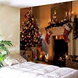 Christmas Fireplace Print Wall Decor Tapestry (W71INCHL90INCH)