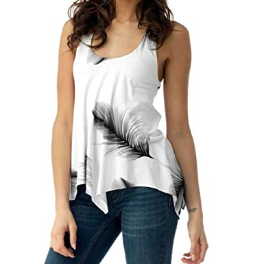 00fd7b632 FALAIDUO Women Plus Size Sleeveless Print Feather Bandage Tank ...
